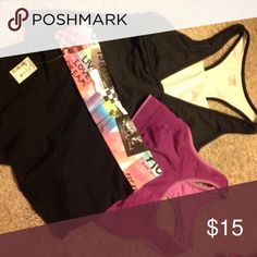 Workout Bundle NWT Aeropostale yoga shorts, Ryka black racerback top with white shelf bra attached, and Champion sports bra.  Only yoga shorts are new with tags. Ryka, Aero, Champion Other