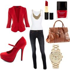 Love this basic white top and jeans with all these red accents! #Outfit