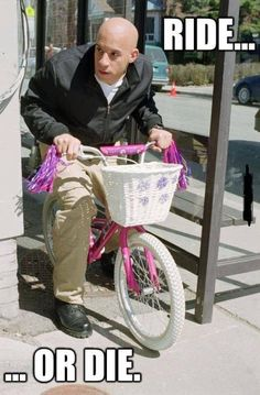 Ride or Die . Vin Diesel riding a bike . The Fast and the Furious Fast And Furious Memes, Fast And Furious Cast, The Furious, Dominic Toretto, Furious Movie, Ride Or Die, Really Funny, Freaking Hilarious, I Laughed