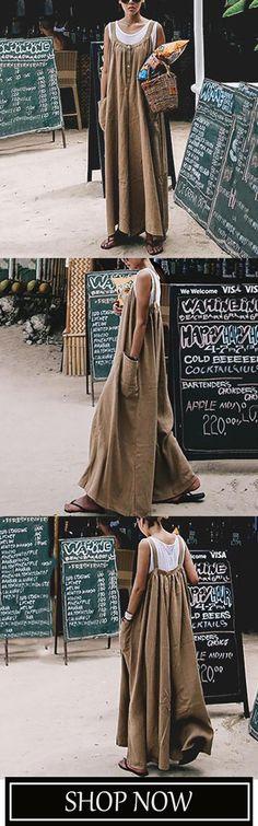 3e2367e02c4f Casual Loose Comfortable Cotton Linen Jumpsuit