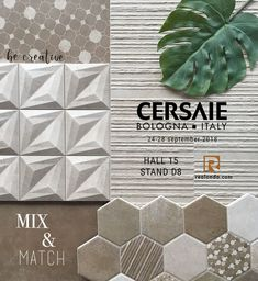 HABITAT Collection || Mix & Match || Come to visit us from 24-28 of September at Hall 15 Stand D8 #Realonda #Cersaie2018 #bologna #ceramica #madeinspain #tileofspain #design #tiles #tiledesign #homedecor #tileaddiction #trends #tiletrends #moodboard Bologna, Tile Design, Mix Match, Bollywood Actress, Tiles, Decorative Boxes, September, Trends, Sexy