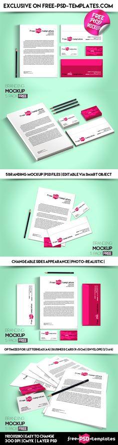 5 Free Branding Mockups (45.8 MB) | free-psd-templates.com | #free #photoshop #mockup