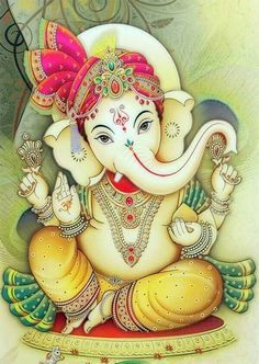 Lord Ganesha - The remover of all obstacles; the deity of intellect, wisdom, and new beginnings. Largest Collection of Lord Ganesha on the Planet Arte Ganesha, Pintura Ganesha, Indian Gods, Indian Art, Namaste, Elefante Hindu, Ganesh Wallpaper, Hd Wallpaper, Photo Wallpaper