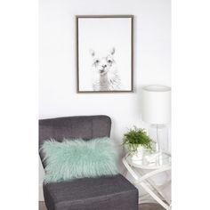 DesignOvation Simon Te 'Alpaca Portrait' Black/White Framed Canvas Wall Art