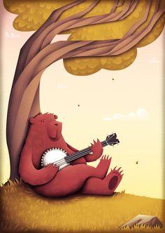 A Bear and his Banjo Art Print