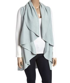 Look what I found on #zulily! Light Blue Drape Open Vest - Plus by TROO #zulilyfinds
