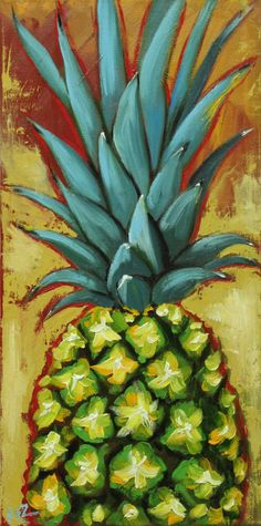 Pineapple painting 4 12x24 inch original still life fruit oil painting by Roz by RozArt on Etsy