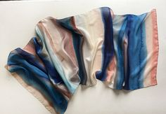 Hand Painted Silk Scarf-The Arctic Stripes/ Long fashion scarf/ Stripes scarf in blue and pale pink palette/ Elegant evening scarf OOAK