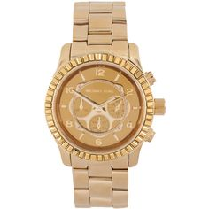 Michael Kors Gold Chronograph Bracelet Watch found on Polyvore