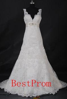Free shopping!! Custom white lace wedding dress  wedding gown with beautiful long train white wedding dress