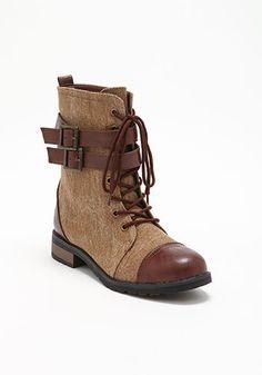 Brown Side Buckle Combat Boots - Debshops.com