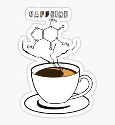 Educational design, featuring chemical structures that can be found in daily lives. / Introducing, caffeine, which can be found in coffee. More science related design coming soon. Printable Stickers, Cute Stickers, Chemistry Art, Doodles, Tumblr Stickers, Aesthetic Stickers, Pin And Patches, Science Art, Laptop Stickers