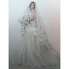 "364 Beğenme, 10 Yorum - Instagram'da Karen Orr (@karenorrillustration): ""Beautiful Kwissy- #bridalinspo #bridalhair #bridalmakeup #weddinggown #weddinghair…"""