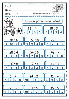 MARCANDO GOL COM O RESULTADO! FATOS PARA 4º ANO/ 5ºANO - Alfabetizar com AMOR Dyslexia Activities, Math Quizzes, Kids Math Worksheets, Preschool Writing, Teaching Math, Multiplication, Activities For 6 Year Olds, Math Sheets, Math Division
