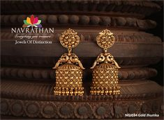 Newly arrived #goldjhumkas  #gold #jhumka collections from our 'Jewels of Distinction' by #Navrathan - http://navrathan.com/jhumkas/