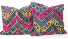 SET Anatolian Handwoven Chevron Turkish Kilim Pillow Cover, Bright Pink Yellow Blue Decorative Kilim Pillow,  Kilim Throw Pillow on Etsy, $85.00