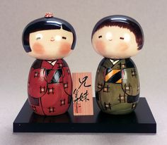 Brother And Sister #Kokeshi Dolls #painting #doll