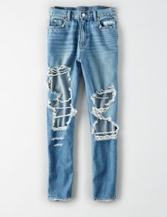 Shop American Eagle for Mom Jeans that look as good as they feel. Ae Jeans, Ripped Jeans, Outfits For Teens, Cute Outfits, Live In Jeans, All White Sneakers, Light Blue Skinny Jeans, Jogger Shorts, Joggers