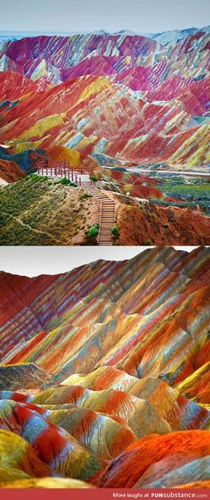 The Rainbow mountains, China... Almost unbelievable......??
