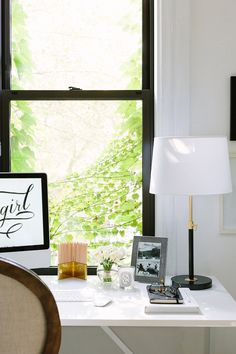 The Everygirl Cofounder Alaina Kaczmarski's Greystone Home Tour Home Office Design, Office Decor, House Design, Desk Styling, Gothic Furniture, Home Office Lighting, Bedside Table Lamps, Modern Traditional, Windows