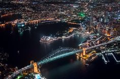 Sydney Harbour Bridge at night and the Opera House