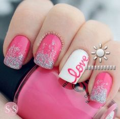 Adorable Valentine's Day Nail Ideas - cursive love, pink and glitter nails