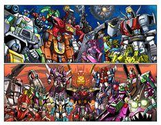 Autobot VS Decepticon: Lord Megatron (Gigatron), Optimus Prime Super Mode, Vector Prime, Rodimus, Starscream, Cyclonus, Slag, Brawn, Tidal Wave (Mirage), Tankor, Inferno, Cheetor, Elita-1, Cosmos, Hotshot, Sharkticon, Hound, Scourge, Predaking and Jazz (Transformers Unicron Trilogy: Armada-Energon-Cybertron-Robots In Disguise; Generation 1, Beast Wars and Beast Machines)