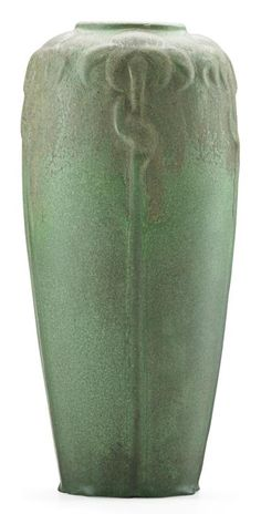 """VAN BRIGGLE Tall vase with cone flowers, green glaze, Colorado Springs, CO, 1908-1911 Incised AA Van Briggle Colo. Sprg, 746 11 1/4"""" x 4 1/2""""  RAGO Early 20th Century Design 02/14/2015 SOLD $1,375"""