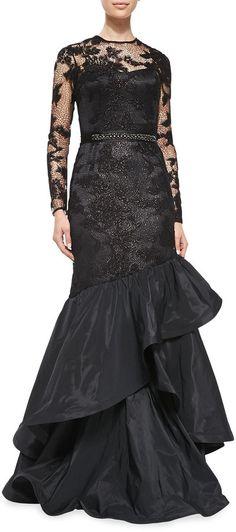 Rickie Freeman for Teri Jon Long-Sleeve Tiered Ruffle Gown