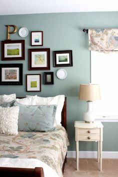 Benjamin Moore Scenic Drive Blue Bedroom : The Sweet Survival painted their master bedroom Benjamin Moore Scenic Drive. What a perfect blue paint color to go with their cherry and white furniture! Thanks Trisha!