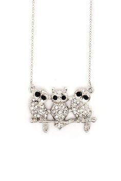 Triplet Owl Necklace in Silver