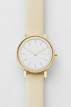 The Hald makes its debut as a women's watch style this season with a mirrored bezel, sandblast dial, two-hand movement, and leather band.*Interchangeable straps available Warm Outfits, Skagen, Glitters, Gold Watch, Outfit Ideas, Jewels, Watches, Band, Woman