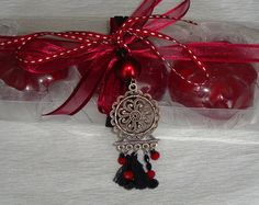 Handmade Gift Set for Women: Three Bordeaux wine color small Scented Luxury Soaps, Pomegranate scent, with a lovely Handmade Silver-Red-Black Jewelry Necklace in the packaging. Handmade Clothes, Handmade Jewelry, Handmade Silver, Valentine Day Gifts, Valentines, Gift Sets For Women, Handmade Soaps, Bordeaux Wine, All Things Christmas