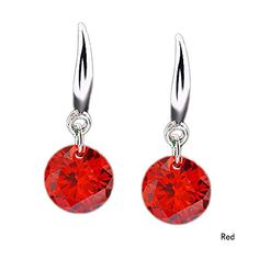 * Penny Deals * - New 1pair Sterling Silver Women Elegant Crystal Rhinestone Ear Stud Earrings Red 925 -- Click on the image for additional details.