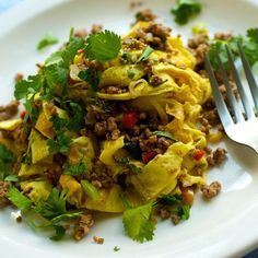 Laotian Beef Salad (larb) with Omelette Noodles recipe on Food52