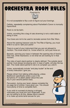 """Based on the comic Orchestra Room Rules, this hilarious 11"""" x 17"""" poster clearly explains the rules of your orchestra classroom to your students so they obvious"""