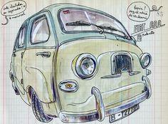 Un #fiat600 #multipla dibujado por @lapinbarcelona #seat600