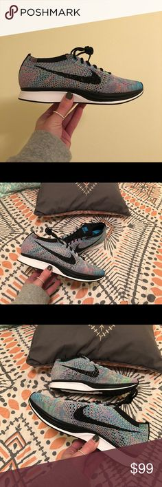 Multicolor Flyknit Racer Flyknit wraps your foot for total comfort Bootie-style construction lets you slip in and out quickly Nike Zoom Air cushioning is lightweight and responsive Rubber outsole for durability Nike Shoes Sneakers