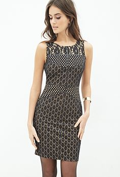 Black Multicolor Pattern Print Embroidered Lace Bodycon Dress | FOREVER21 - 2052289030 $30