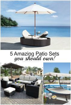 Dreamy patio sets in all price ranges. Love the double chaise bed!
