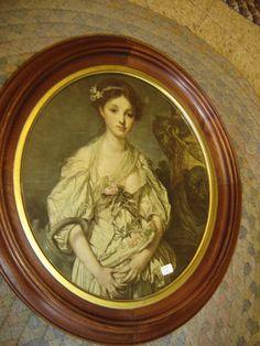 Anyique  Oval Walnut 2-Part Frame Lithograph Victorian Lady. 8184 #ArtNouveau