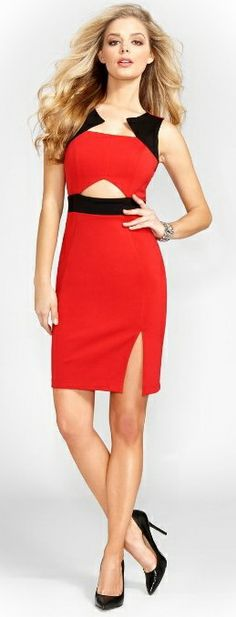 #GUESS #Sexy Contrast Cut-Out BodyCon #Dress