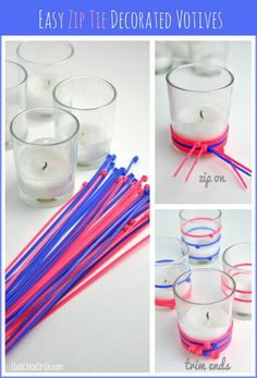Decorar vasos con cintas plásticas de color - http://decoracion2.com/decorar-vasos-con-cintas-plasticas-de-color/62039/ #Decoración, #IdeasParaDecorar, #Manualidades