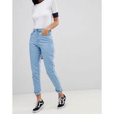 Noisy May Mom Jean (2.460 RUB) ❤ liked on Polyvore featuring jeans, blue, high-waisted jeans, blue high waisted jeans, noisy may, print jeans and noisy may jeans