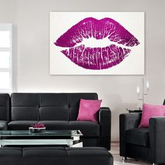 Lip Canvas Print. Pantone Radiant Orchid