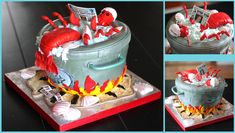 Visit the post for more. Beautiful Cakes, Amazing Cakes, Lobster Cake, Nautical Cake, Crab Shack, Cakes For Boys, Anniversary Parties, Themed Cakes, Cupcake Cakes