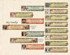 Family tree - pedigree style        14x11 Poster  Template ID: 61637
