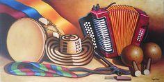 cuadro típico región caribe colombiana. Miguel Tapia Vintage Microphone, Electronics, Musica, Whales, Wine Cellars, Pintura, Art