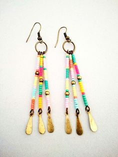 Items similar to Boho Southwest Style Color Block Seed Bead Earrings – The Cheyenne Earrings on Etsy – Diy Jewelry İnspiration Seed Bead Jewelry, Seed Bead Earrings, Beaded Earrings, Wire Jewelry, Earrings Handmade, Jewelry Crafts, Beaded Jewelry, Jewelery, Handmade Jewelry