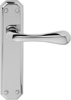 CHROME SATIN INTERNAL EUROPA DOOR HANDLES Pair Lever Latch Euro Bathroom Lock